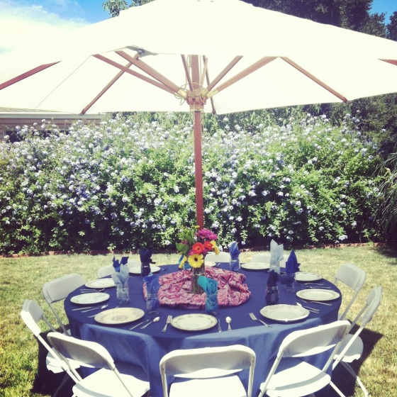 Bohemian Indigo colors of blue table settings at our wedding shower