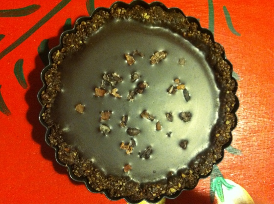 Vegan Gluten Free Raw Chocolate Tart with Nuts, Seeds, Cacao Nibs, Cocoa and Cacao Butter